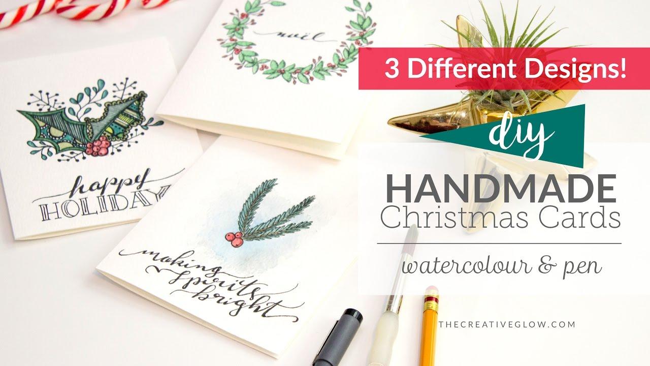 1280x720 Diy Handmade Christmas Cards Watercolor Amp Pen
