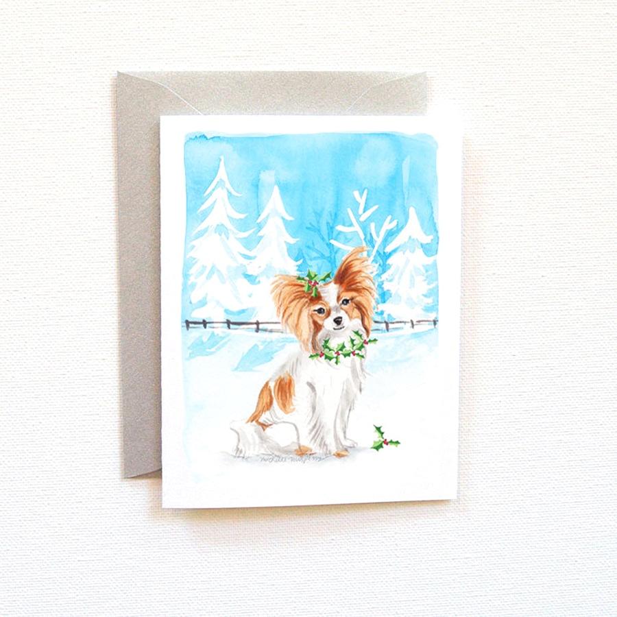 900x900 Papillon Dog Christmas Card Set Custom Watercolor Invitations