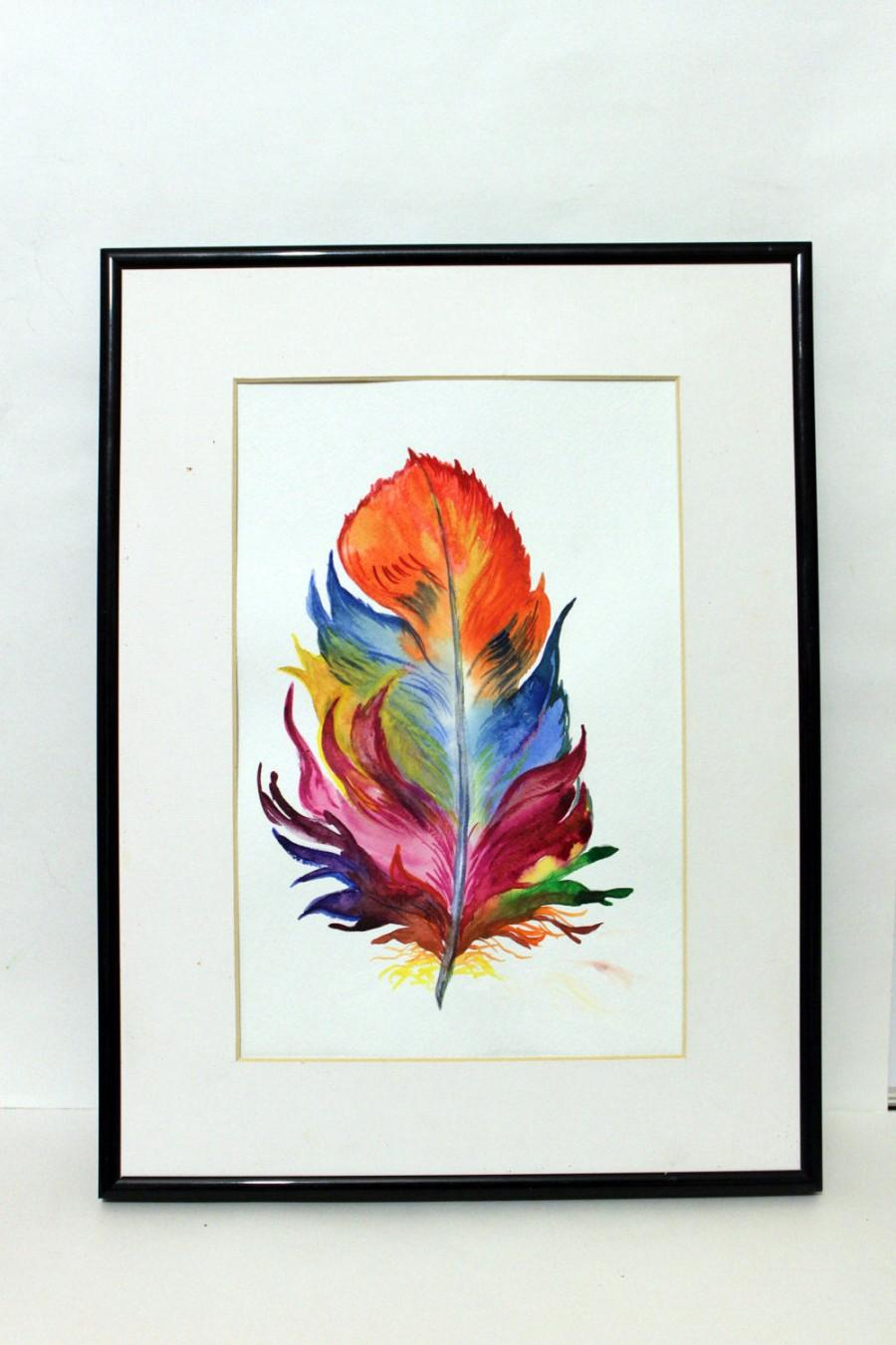 900x1350 Feather Original Watercolor Painting Handmade Colorful Home Decor