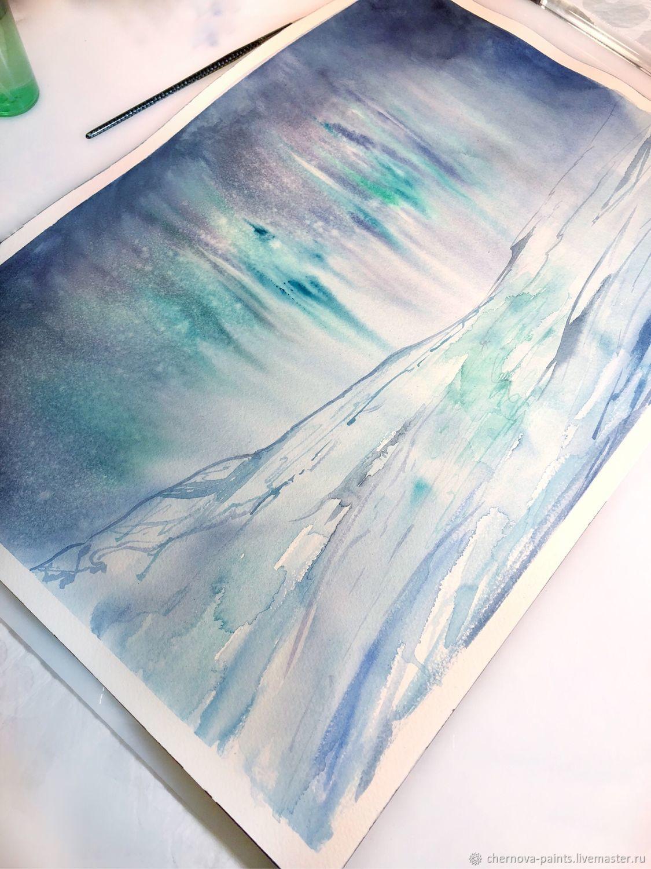 1125x1500 Watercolor Painting Aurora Borealis Shop Online On Livemaster