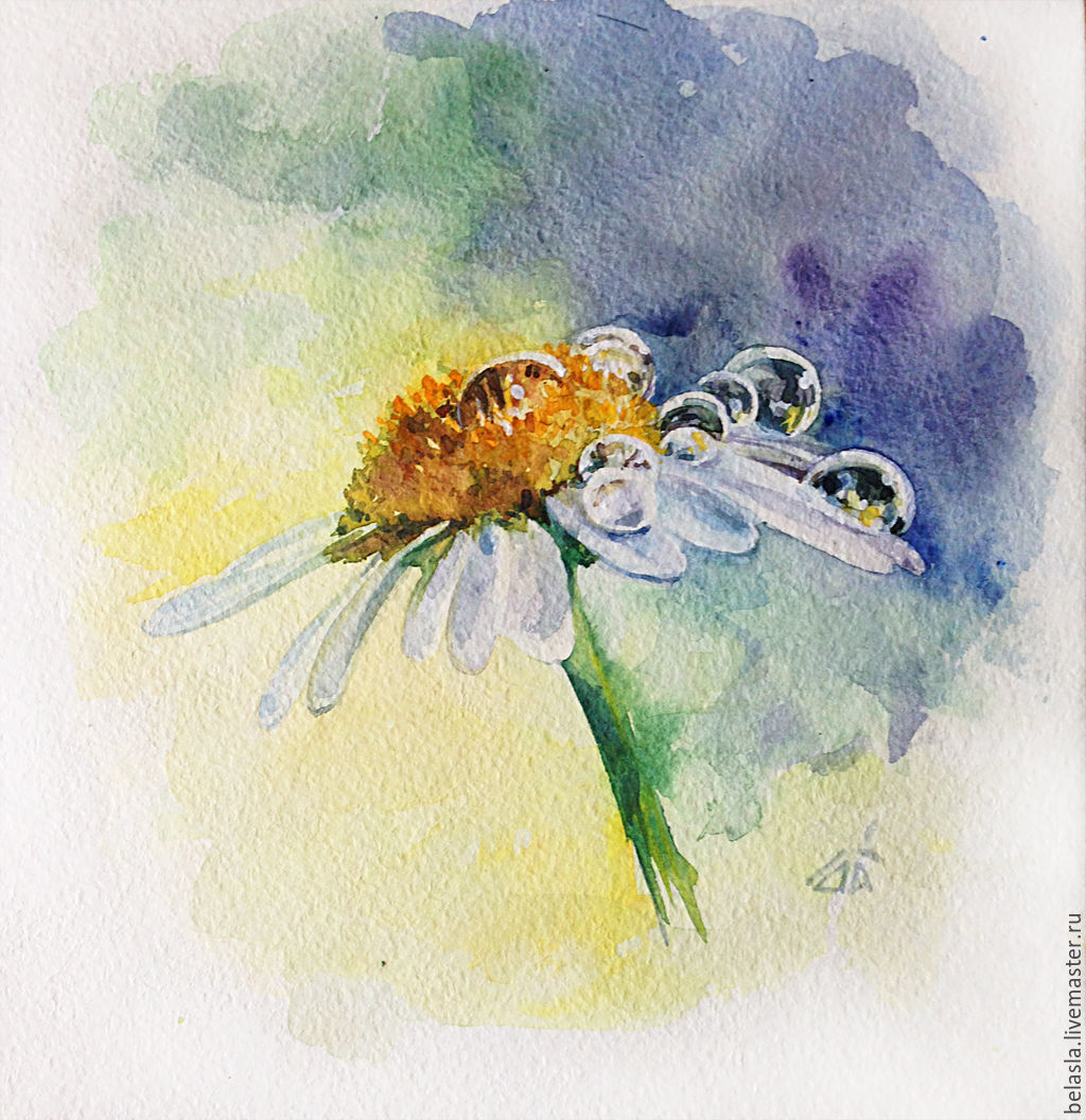 1024x1056 Watercolor Daisy After The Rain Shop Online On Livemaster With