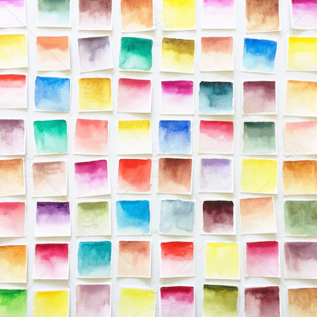 640x640 Assortment Of Multi Colored Handmade Watercolor Paint Swatches