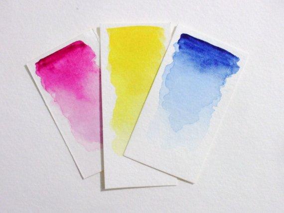 570x428 Cmy Color Wheel Pocket Set Handmade Watercolor Paint Etsy