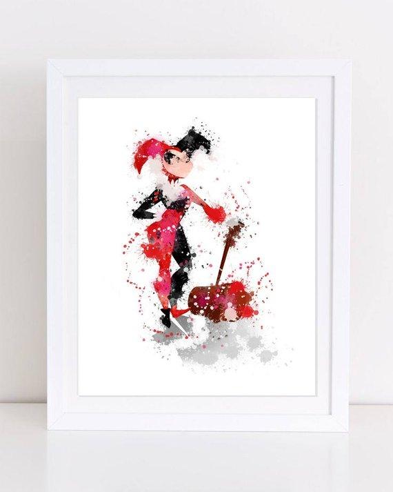 Harley Quinn Watercolor