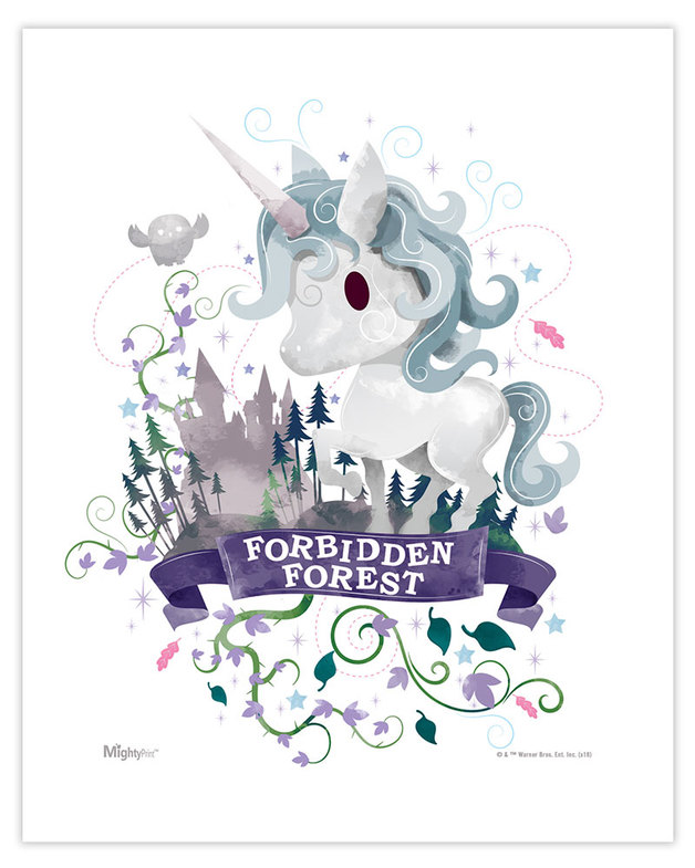 628x785 Harry Potter (Forbidden Forest Watercolor) Mightyprint Wall Art