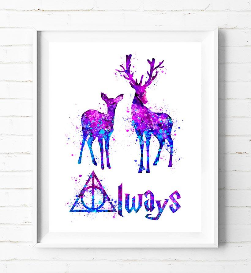 820x891 Harry Potter Doe And Stag Patronus Charm Watercolor Painting Art