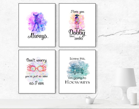 570x448 Harry Potter Watercolor Print Harry Potter Quotes Dobby Etsy
