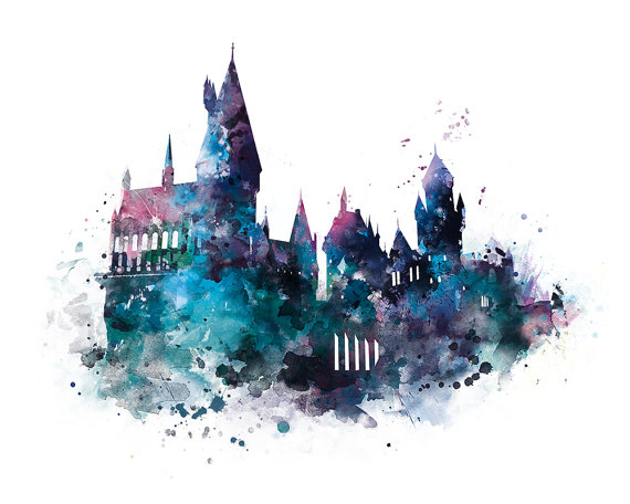 570x456 Hogwarts Art Print Hogwarts Castle Poster Harry Potter Watercolor