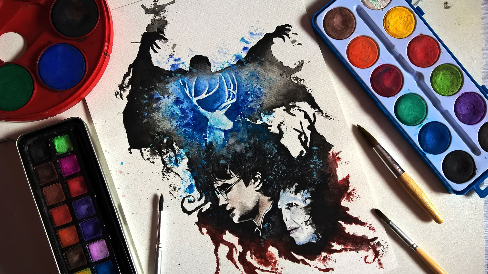 2000x1125 Speed Drawing Aquarela Watercolor Harry Potter