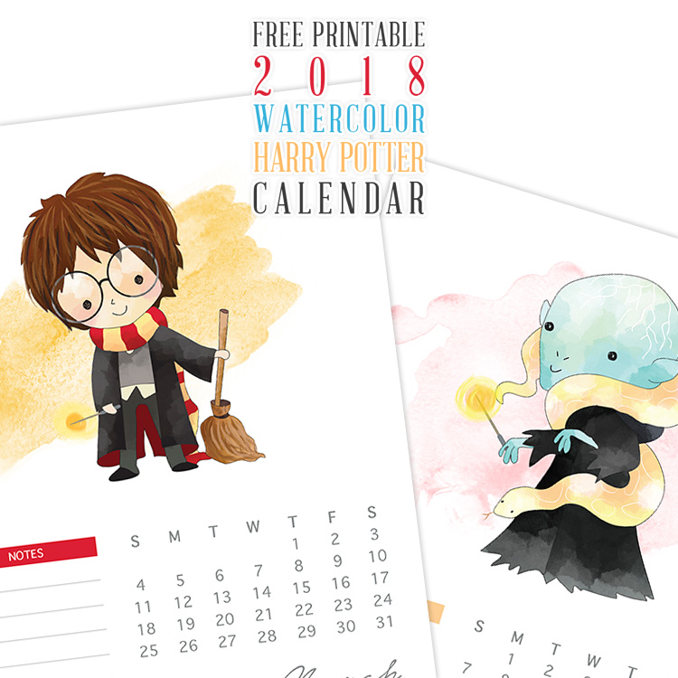 750x750 Free Printable 2018 Watercolor Harry Potter Calendar
