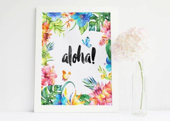 570x406 Aloha Sign, Tropical Print, Aloha Prints Tropical Wall Decor