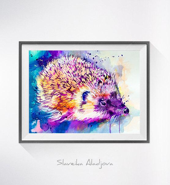 556x604 Hedgehog Watercolor Painting Print