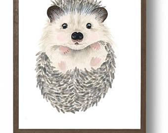 340x270 Watercolor Baby Hedgehog Woodland Nursery Flower Crown Etsy