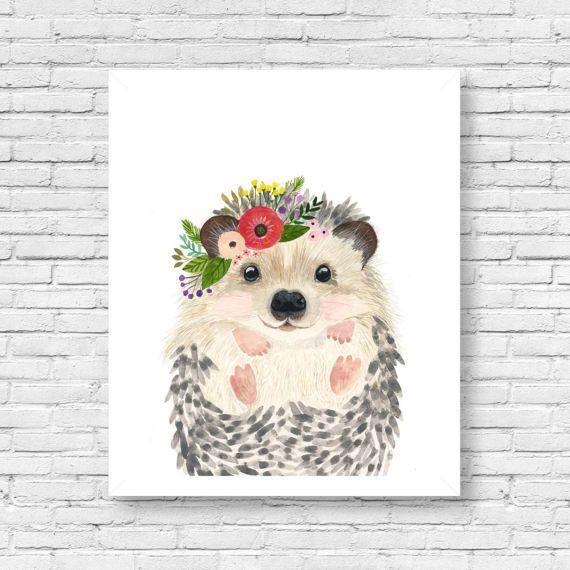 570x570 Watercolor Hedgehog 2, Woodland Nursery, Animal Paintings