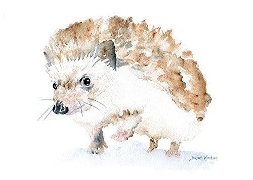 500x357 Hedgehog Watercolor Print Handmade