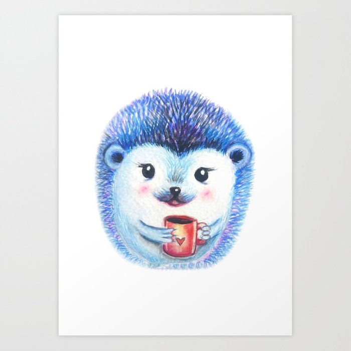 700x700 Blueberry Hedgehog Watercolor Art Print By Willowheath Society6