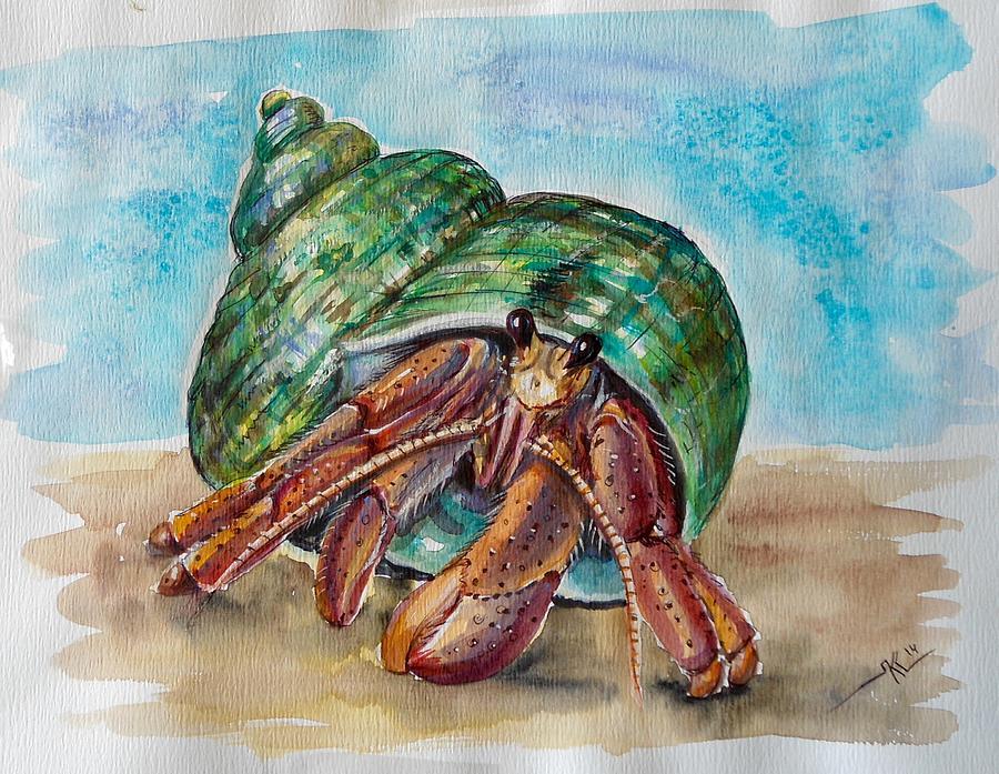 900x697 Hermit Crab 4 Painting By Katerina Kovatcheva
