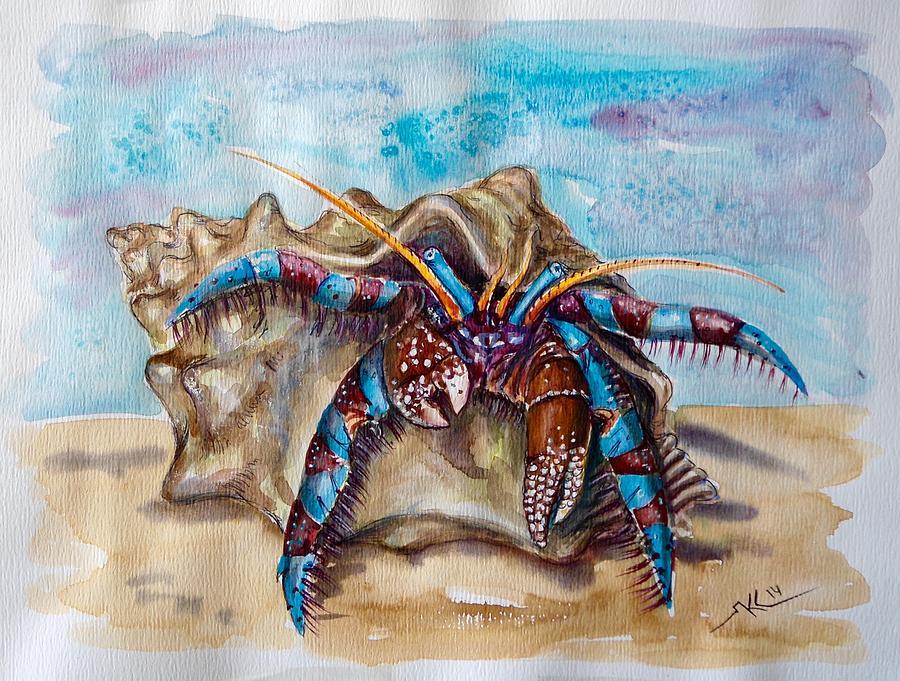 900x681 Hermit Crab 5 Painting By Katerina Kovatcheva