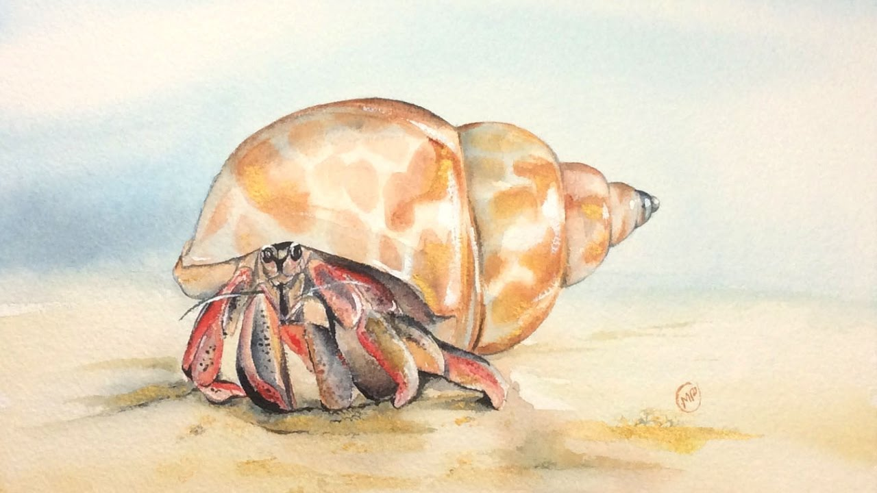 1280x720 Watercolor Hermit Crab With Gold Painting Demonstration