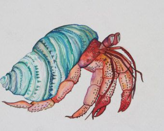 340x270 Water Color Of A Colorful Hermit Crab Tattoos