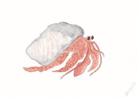 570x403 Herman The Hermit Crab, Watercolor Painting, Art Print Watercolor
