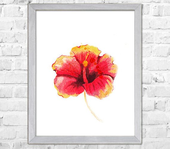 570x499 Hibiscus Flower Painting Print Flower Watercolor Painting Etsy