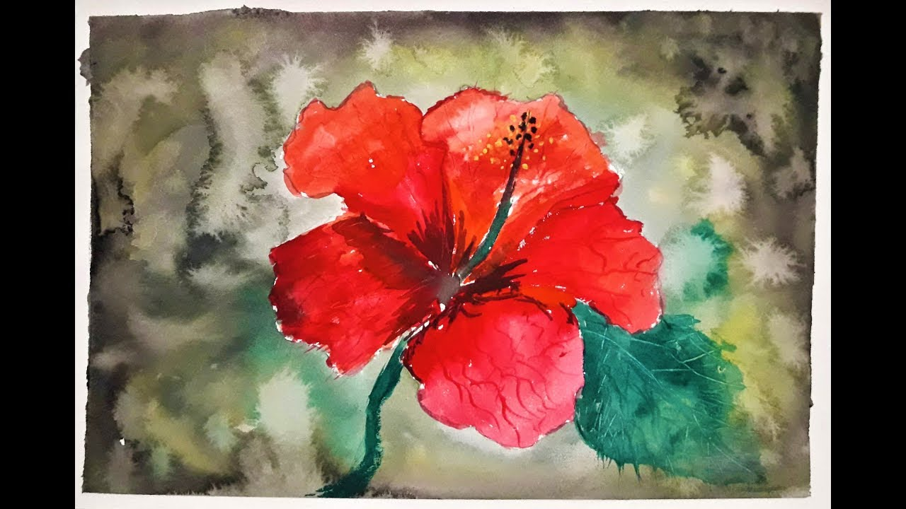 1280x720 Simple Hibiscus Flower Watercolor Painting Demonstration