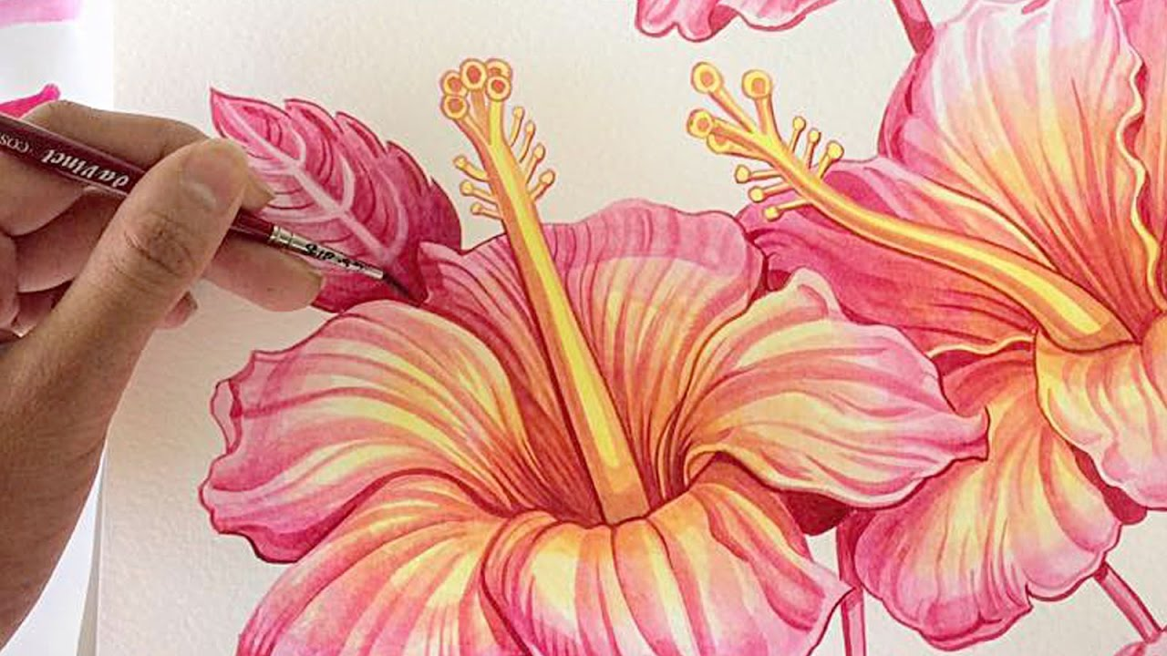 1280x720 Hibiscus Watercolour Painting