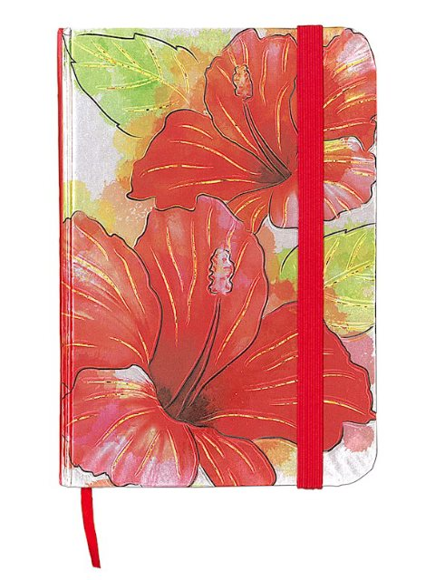 480x640 Island Heritage Hibiscus Watercolor Foil Note Book With Elastic