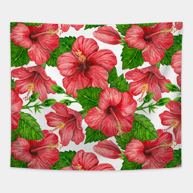 630x630 Red Hibiscus Watercolor Pattern