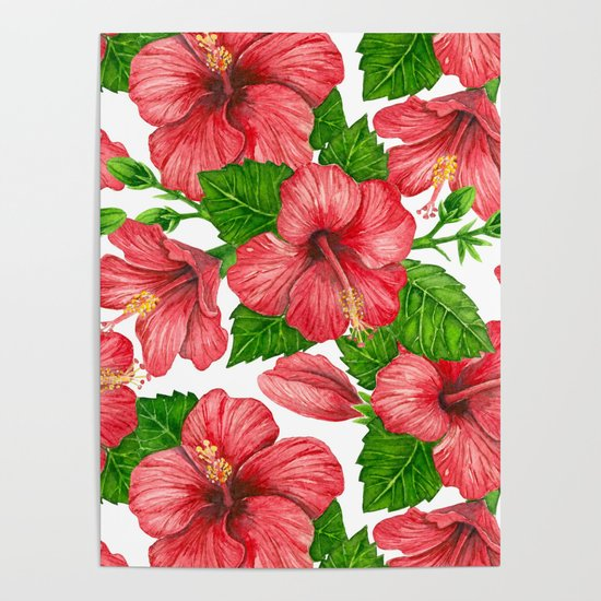 550x550 Red Hibiscus Watercolor Pattern Poster By Katerinamitkova Society6