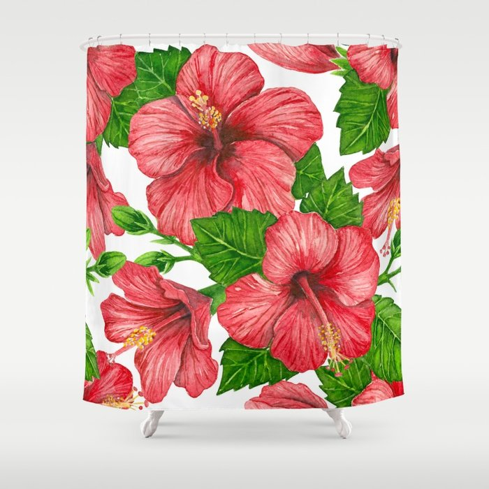 700x700 Red Hibiscus Watercolor Pattern Shower Curtain By Katerinamitkova