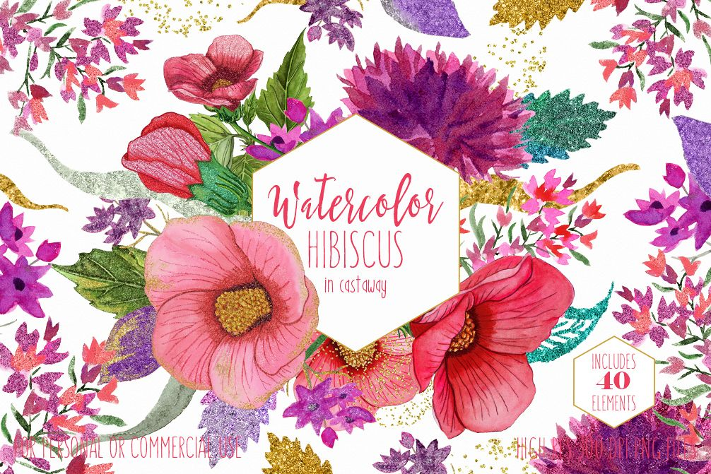1006x671 Tropical Hibiscus Watercolor Floral Clipart Commercial Use Clip