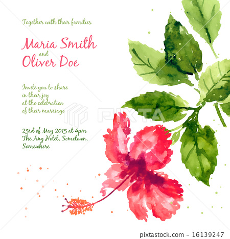 450x468 Vector Background With Red Watercolor Hibiscus