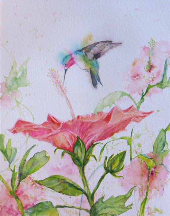 570x723 Original Hummingbird Hibiscus Watercolor Painting Wall Decor Etsy