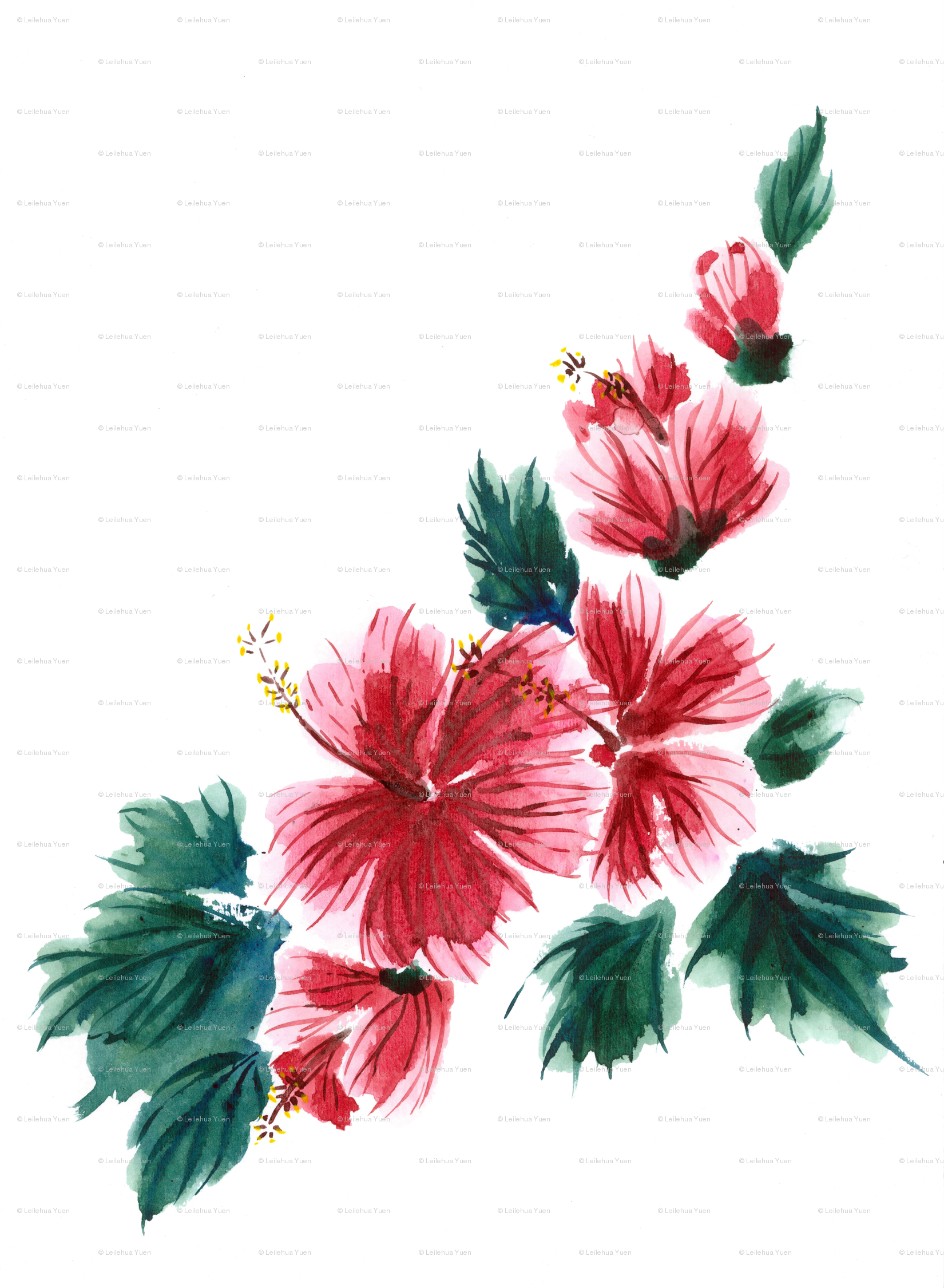 1650x2250 Hawaiian Hibiscus Watercolor Wallpaper