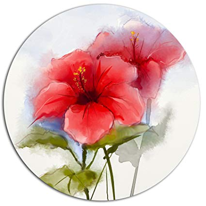 425x425 Designart Mt15041 C23 Watercolor Painting Red Hibiscus Flower