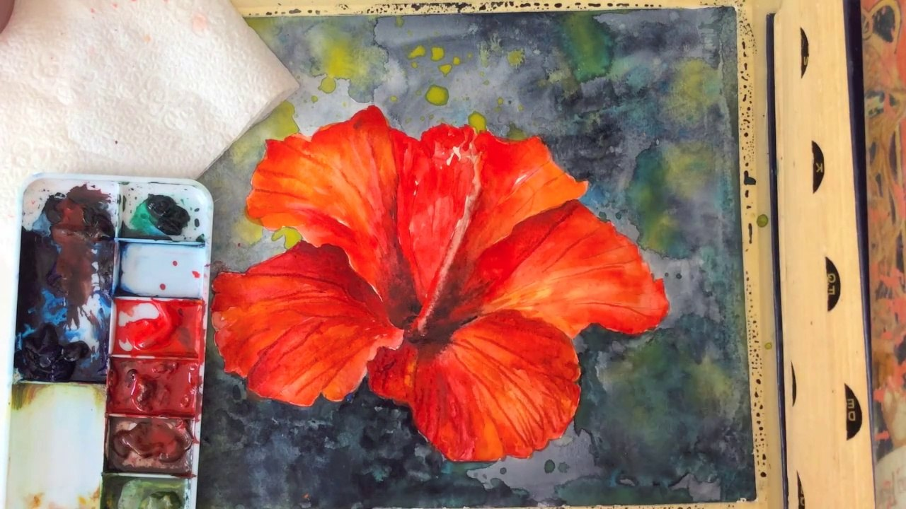 1280x720 Free, Step By Step Tutorial ~ How To Paint A Hibiscus Flower In