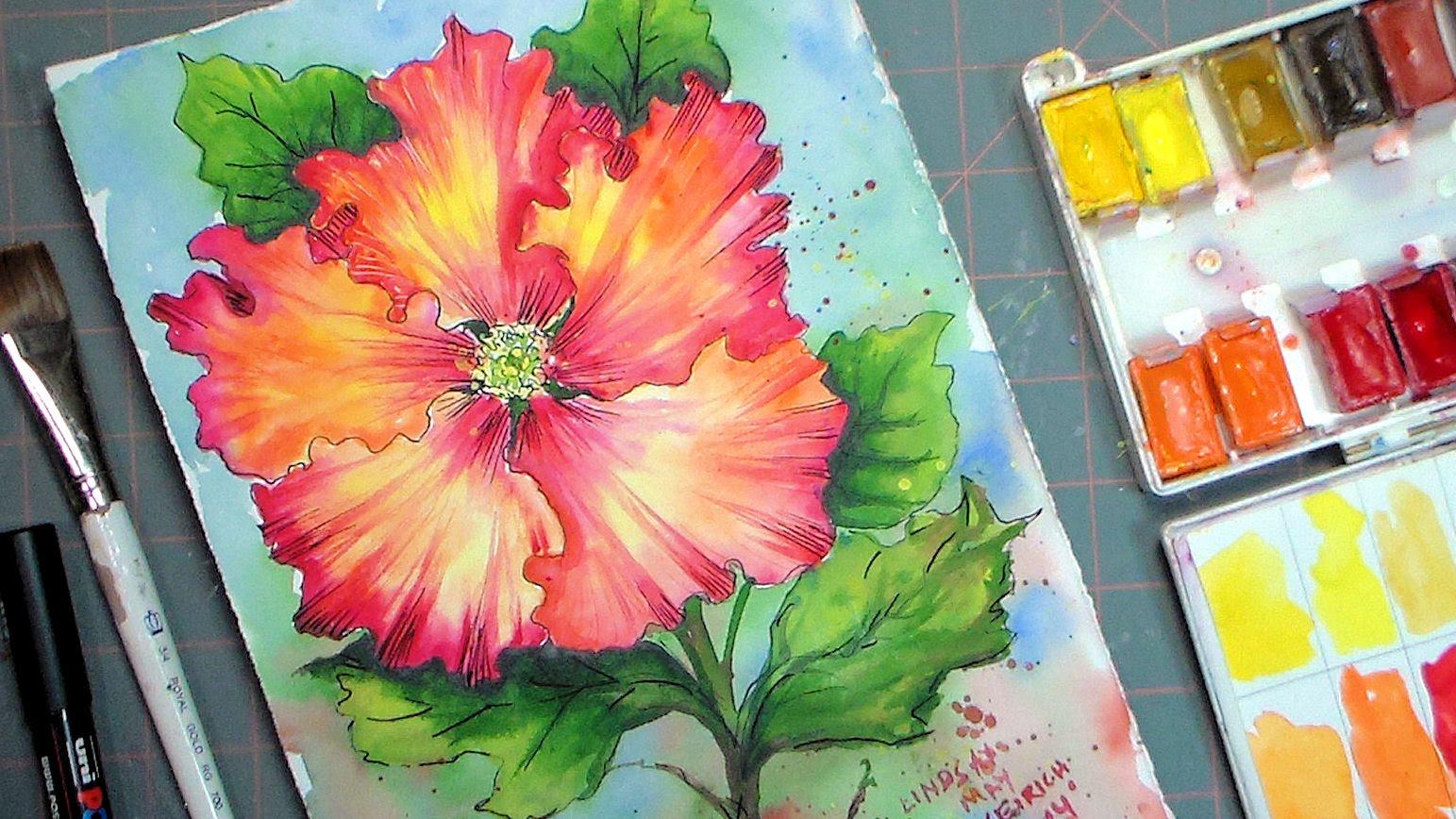 1543x868 Hibiscus Watercolor Painting Tutorial