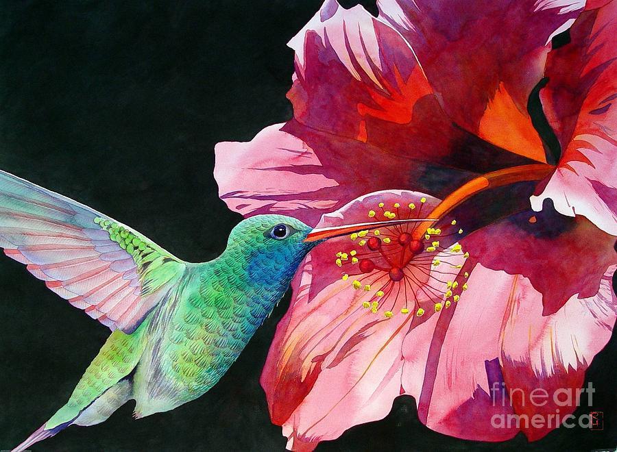 900x660 Hummingbird And Hibiscus Painting By Robert Hooper
