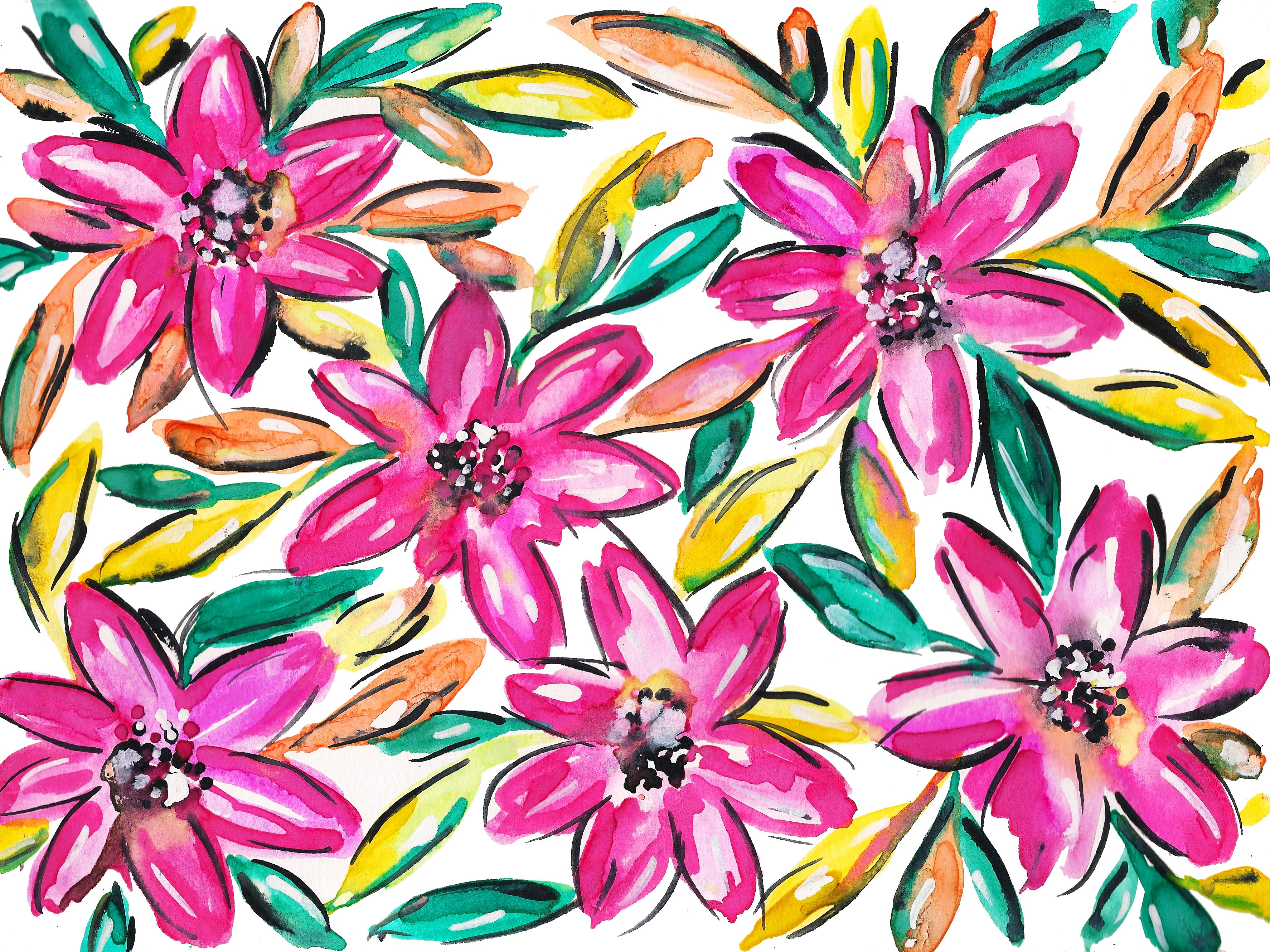 3548x2660 Pink Hibiscus Watercolor Painting Kahri By Kahrianne Kerr