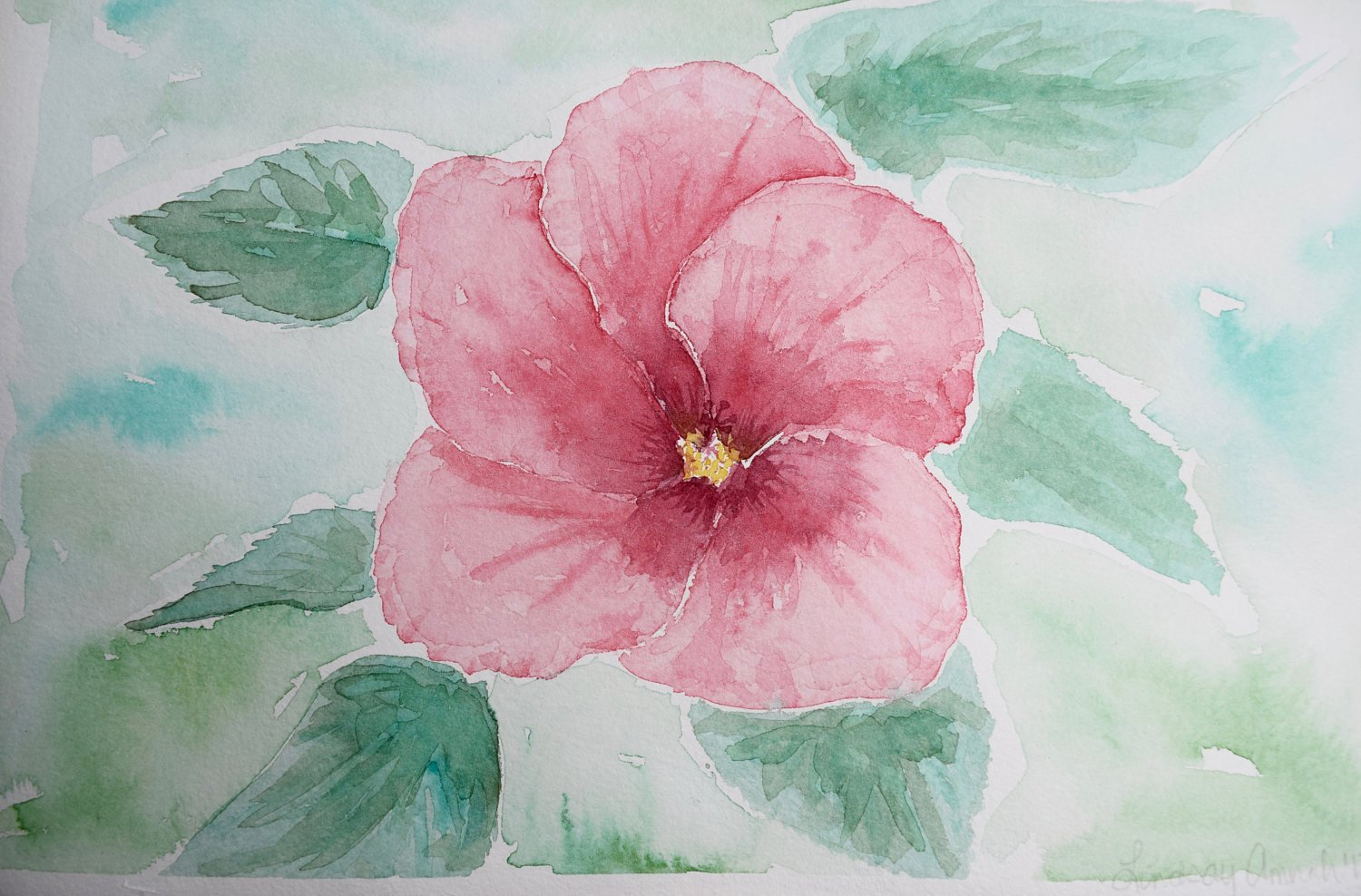 1500x988 Watercolor Flowers Painting Hibiscus Flower Floral Etsy