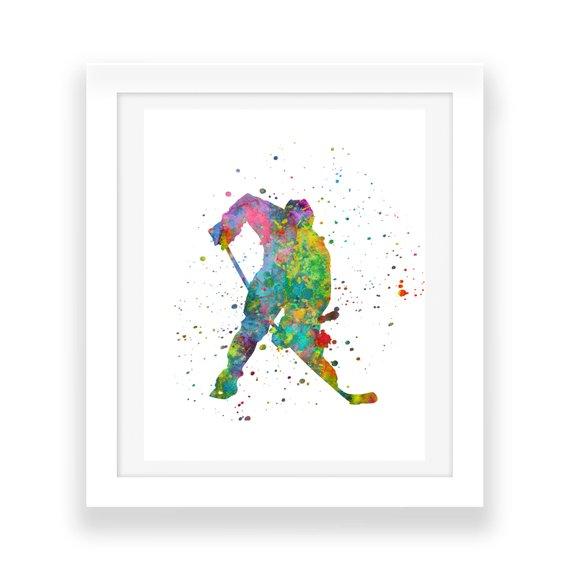 570x570 Hockey Wall Art Digital Download Rainbow Watercolor Wall Art Etsy