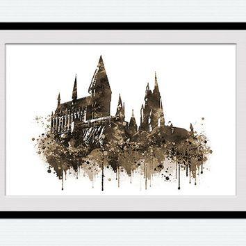 354x354 Hogwarts Castle Poster Harry Potter Watercolor Print Harry Potter