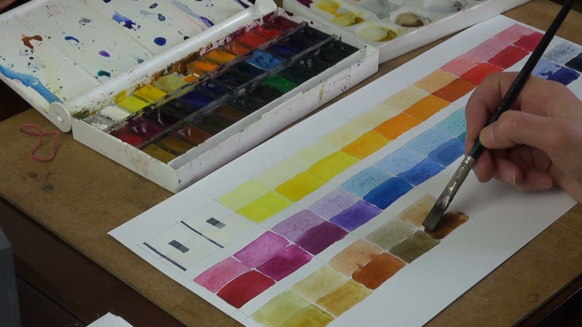 1920x1080 Making Watercolor Colour Chart On Paper Stock Video Footage