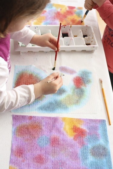 373x560 Toddler Art With Paper Towels And Liquid Watercolours