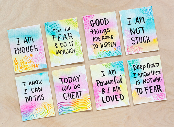680x497 Diy Watercolor Affirmation Cards