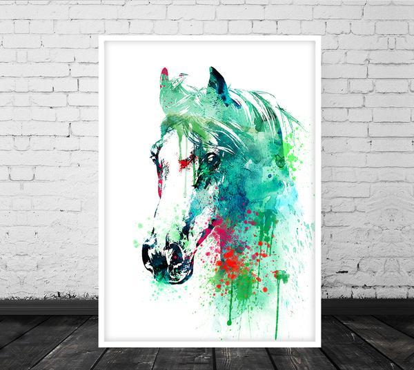 600x537 Watercolor Horse Art, Horse Wall Art, Wall Decor, Horse Decor