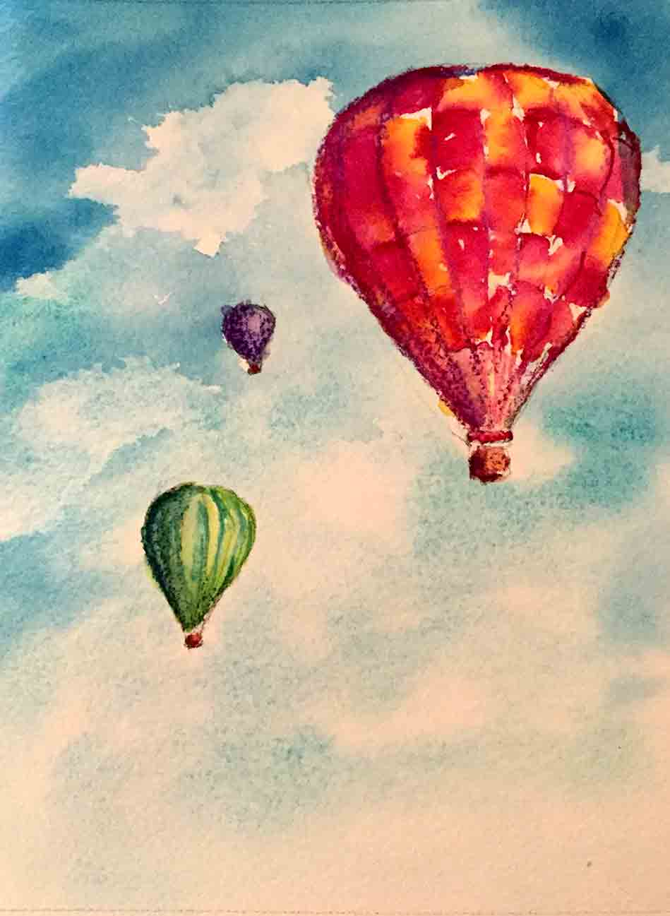 Hot Air Balloon Watercolor