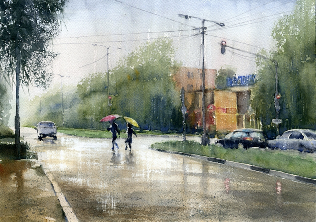 1024x720 A Super Quick And Easy Way To Paint Rain In Watercolor
